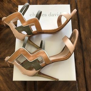 Gray & Peach High Heel Sandals